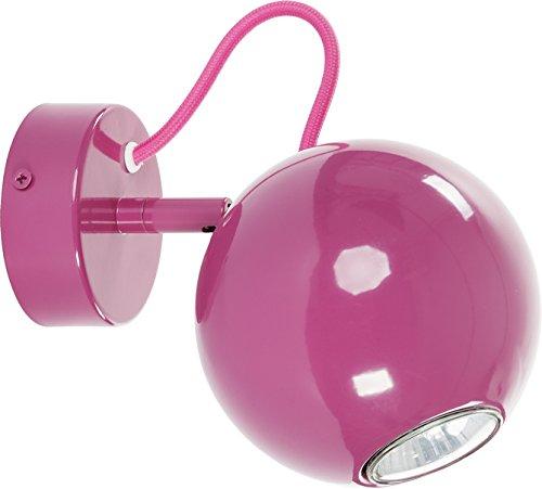 Retro Wandleuchte in pink GU10 bis zu 35 Watt Kugel Spot verstellbar Wandlampe Innen kuglig für Wohnzimmer Schlafzimmer