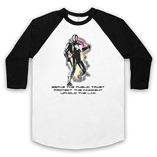 Inspiriert durch Robocop Prime Directives Unofficial 3/4 Hulse Retro Baseball T-Shirt Weis & Schwarz