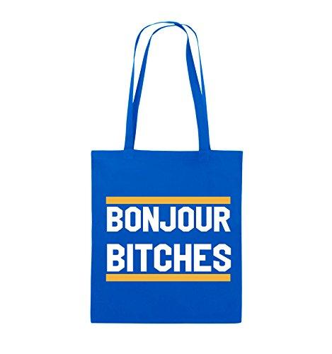 Comedy Bags - Bonjour Bitches - Jutebeutel - lange Henkel - 38x42cm - Farbe: Schwarz / Weiss-Hellblau Royalblau / Weiss-Gelb