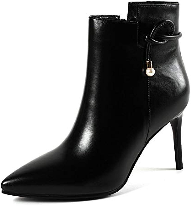 HAOLIEQUAN Chaussures Femmes Talon Haut Fines Bottines Femmes Fermeture Chaussures Éclair Plate-Forme Chaussures Fermeture Chaussures... a106e7