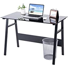 Vita Carver scrivania compatta Nero Vetro COMPUTER Workstation tavolo Studio Laptop Tavolo