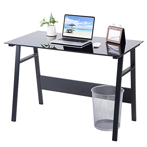 Life Carver Home Office Desk Compact Black Glass Computer