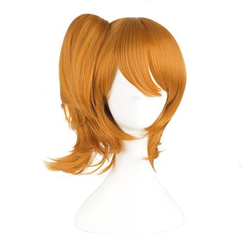 Seitenscheitel Pony Kurz Haar und Pferdeschwanz Lolita Cosplay Perücke (Goldene Orange) ()