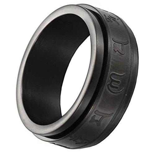 PAURO Herren Edelstahl Jahrgang Buddhismus Charm Tibetanischer Mantra Spinner Ring Om Mani Padme Hum 8mm Band Schwarz Größe 57