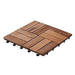 casa pura Interlocking Acacia Wood, Garden & Patio Decking Tiles - 33 Tiles, 30x30cm (3m²) | Multiple Tile Sets Available, Ranger