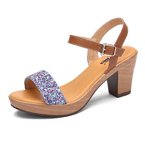 Sandales à talon/sandals à talon épais au cours de l'été/Paillettes sandales doux des étudiants C