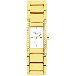 Mike Ellis New York Women's Quartz Watch with White Dial Analogue Display and Alloy gold-coloured - SL2411A
