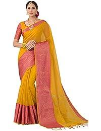 Pisara Women Banarasi Cotton Silk Saree With Blouse Piece,Yellow Sari