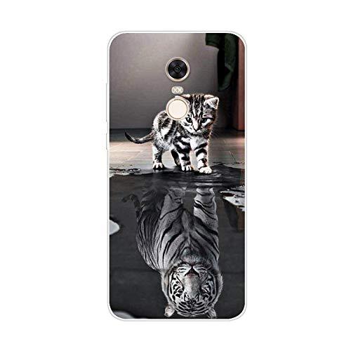 Aksuo Funda For Xiaomi Redmi 5 Plus , TPU Anti-Rasguño Anti-Golpes Cover Protectora Transparente Claro Caso Slim Silicona Case - La Sombra del Gato es Tigre