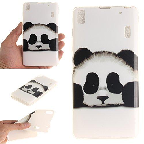 Qiaogle Teléfono Caso - Funda de TPU silicona Carcasa Case Cover para Lenovo K3 Note A7000 / K50-t5 4G LTE (5.5 Pulgadas) - TX34 / Cute Panda