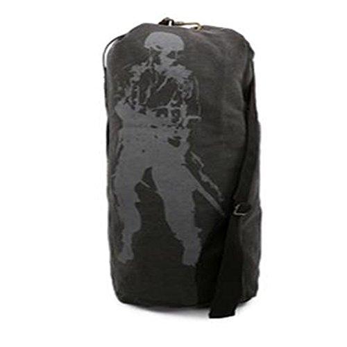 Dlflyb Canvas Outdoor Bergsteigen Tasche Canvas Reisetasche Rucksack Sporttasche Mit Hoher Kapazität Black trumpet