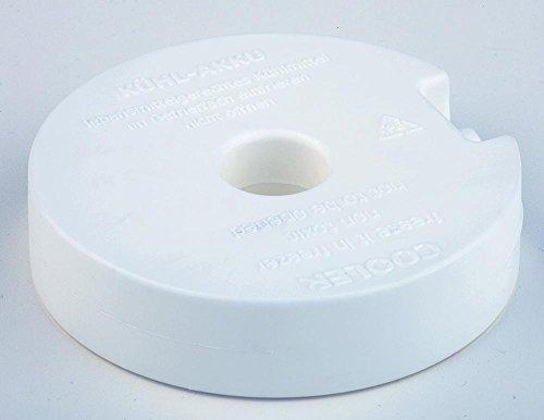 APS Kühlelement/Kühlakku rund, ca. Durchmesser 10,5 cm, Höhe 2,5 gefüllt mit Kühlflüssigkeit weiß einfach im Gefrierfach einfrierenr