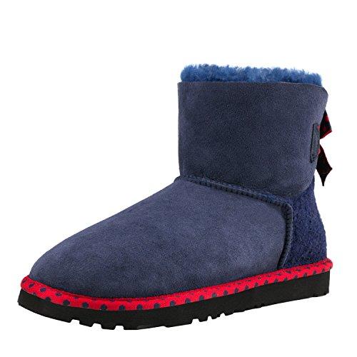 Shenduo Damen Stiefel Kurzschaft Schlupfstiefel Warm Winterschuhe Schleifen Boots D5079 Marineblau 40 (Handgefertigten Leder Stiefel)