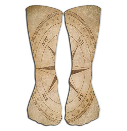 Xunulyn Hohe Socken Outdoor Sports Men Women High Socks Stocking Old Wind Compass Rose Grunge Paper Background Painting Tile Length ()