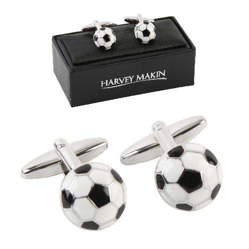 Pair of rhodium plated, Footballs, Cuff links. An ideal gift for the football player or fan (HM179).