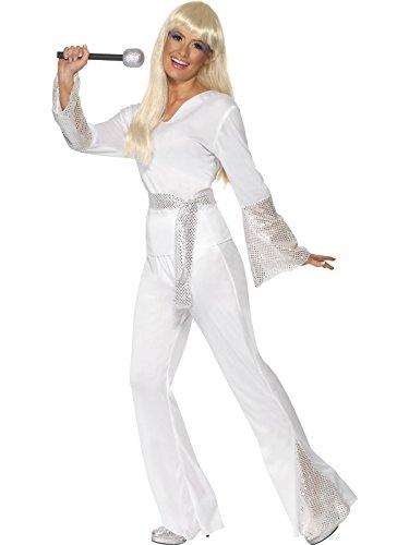70er Jahre Abba Dancing Queen Kostüm Weiß Gr. 36/38 (S), 40/42 (M), 44/46 (L), Größe:M