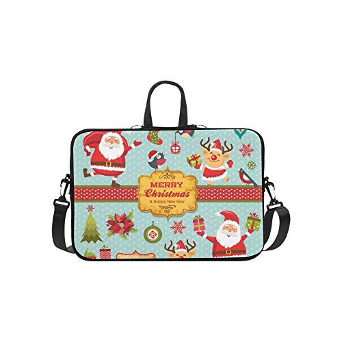 Christmas Zeichen Etiketten Icons Elemente Sammlung Muster Koffer Laptop Tasche Messenger Schulter Tasche Crossbody Handtasche für geschäftsreisen