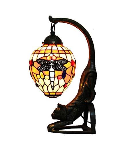 Tiffany Style Schreibtischlampe/Leselampe, 9- Zoll Euro Antiquey/Glas Dekorative Schreibtischlampe mit Zinklegierung Katzensockel, Kreative Tischlampe für Schlafzimmer, BOSS LV -