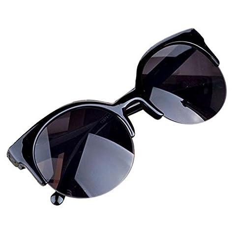 Xiahbong Weinlese Sonnenbrille Katzenauge Halb Rim Sonnenbrille Für Anti-UV Eyewear (Schwarz)
