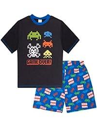 Boys Game Over Space Invader Short Pyjamas Pj Pjs Nightwear