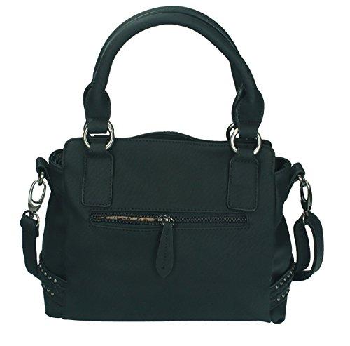 Betz. Borsa da donna borsa borsa per donna MILANO 4 borsa in similpelle con chiusura a zip, tracolla e due manici Nero