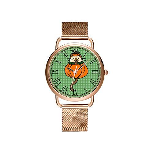 amen Mesh Gürtel ultradünne Uhr wasserdichte Uhr Quarzuhr Weihnachten Nette Halloween Katze Kürbis Kostüm Armbanduhren ()