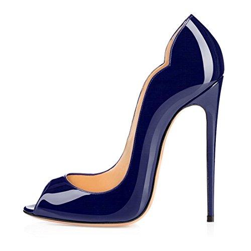 Soireelady Damen Pumps 12cm Absatz,Blau Schuhe,Lackleder High Heels Damen EU43