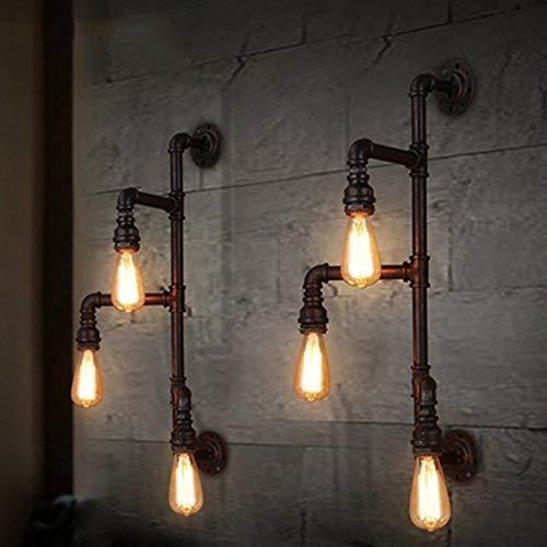 WHKHY Applique Murale Loft Retro Original Pipe à Eau commité, Escaliers, Éclairage Restaurant Bar Lounge Étude 3 Tête E 27, 74 * 29 cm de Nouveau,#1