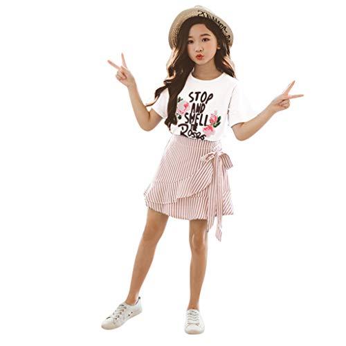 LEXUPE Teen Kinder Mädchen Brief Rosen Kurzarm T Shirt Tops Falbala Kleid Rock Set(Rosa,150)