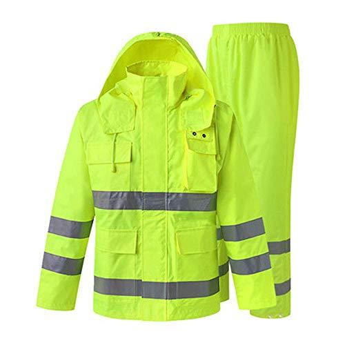 WYJW Reflektierender Regenmantel, Regenmantelanzug für Verkehrsbauten mit Hygienemaßnahmen für Männer Erwachsener Reiten im Freien wasserdichte Kleidungsjacke (Farbe: B, Größe: XXL) (Männer Kleidung Großhandel)