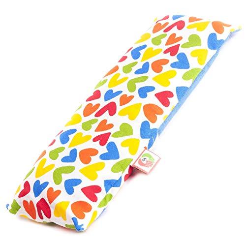 Saco termico de semillas para calentar la cuna de los bebés (25x10cm). Almohada para microondas con funda lavable en tela de algodon 100% y suave olor a lavanda. ST10 (Corazones)
