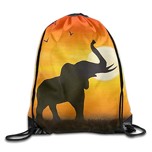 fengxutongxue The Elephant In The Sunset Drawstring Backpack -