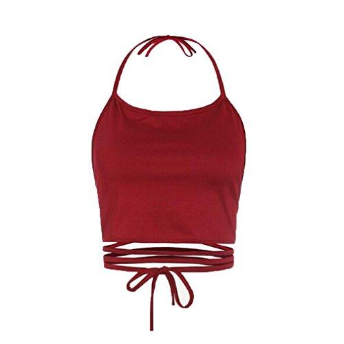 Tanktops Damen Dasongff Damen Ärmellose Riemen Tank Tops BH Crop Bustier Korsett Weste Rückenfreie Weste Bauchfrei Tops Crop Neckholder Bluse Oberteile T-Shirt One Size (One Size, Rot) (Mesh Bügel-bh Lace)