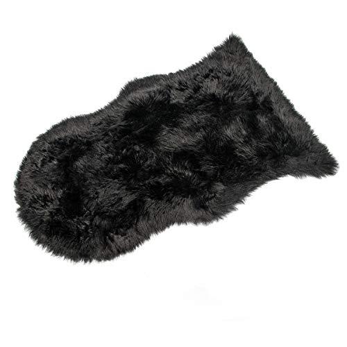 Faux Lammfell Schaffell Teppich , HEQUN Kunstfell Dekofell Lammfellimitat Teppich Longhair Fell Nachahmung Wolle Bettvorleger Sofa Matte(Schwarz, 60 X 90 CM) -