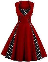 VKStar® Vintage 50er elegantes Abendkleid mit Knöpfe Rockabilly Swing Cocktailkleid