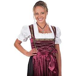 Bayerische Damen Midi Dirndl Kleid 3-teilig mit Schürze und Bluse Schwarz Rot,Rot - 52