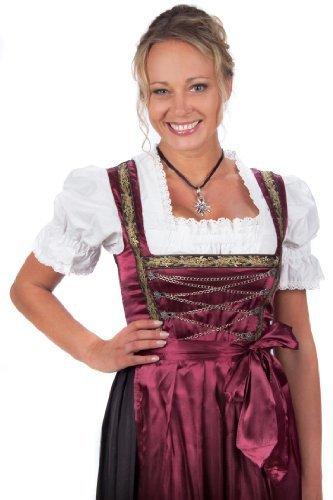 Bayerische Damen Midi Dirndl Kleid 3-teilig mit Schürze und Bluse Schwarz Rot,Rot - 38