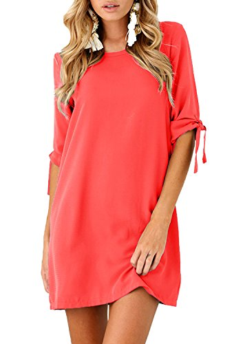 Minetom Mini Robe Femme Manche 3/4 Col Rond Blouse Tunique Chemise Dress A Ligne Swing Sundress Casual Élégant Pullover X Rouge Clair
