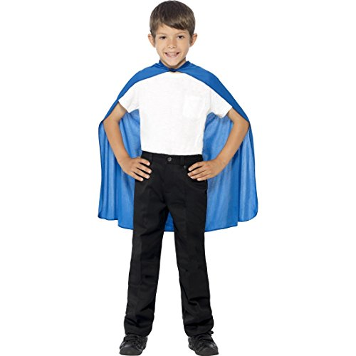 Kind Superhelden Kostüm Cape Blau - Amakando Superheldenumhang - Blau - Superman Umhang Helden Kostüm Jungen Kinder Superheld Kostüm Superhero Cape Outfit Blauer Kinderumhang