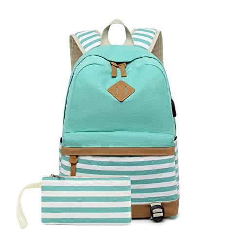 Segeltuch Studententasche Laptop USB-Rucksack Obere Mittelschule Rucksack für Männer Frauen (Grün)