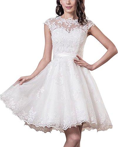 YASIOU Hochzeitskleid Elegant Damen Weiß Kurz Standesamt Tüll Spitze A Linie Durchsichtig...