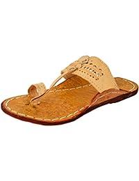AMPEREUS Men's Leather Kolhapuri Sandals