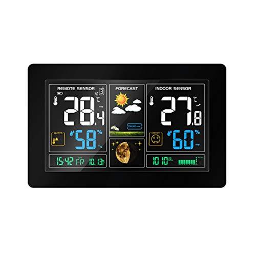 TMY Farbdisplay Wettervorhersage Uhr Wireless Big Screen Radio Clock Elektronische Wecker Temperatur Luftfeuchtigkeit Kalender (Größe : 20.5cm)