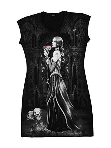 Camiseta-Top-vestido-tnica-negra-The-Priestess-doble-impresin-crneo-sangre-gtica-va