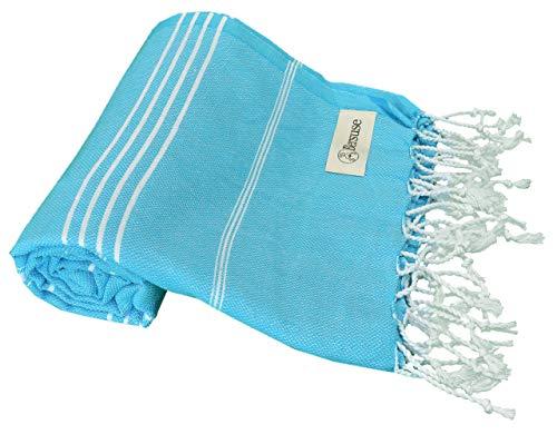 Bersuse 100% Coton - Anatolia Serviette Turque - Drap de Bain, Serviette de Plage en Fouta Peshtemal - Pestemal rayé de manière Classique - 95 X 175 cm, Turquoise