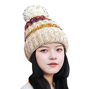 TIREOW Mädchen Frauen Winter Acryl Beanie Strickmütze Mütze Bommel Mode Ski Mütze Wollmütze zum Skifahren Skaten