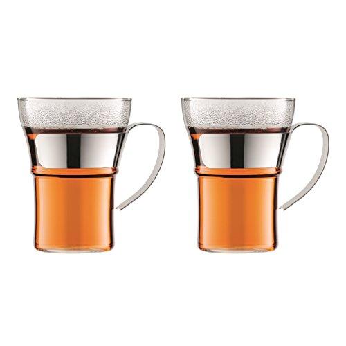 Bodum - 4553-16 - Assam - Set 2 Verres à Café - Anse en Inox Brillant - 0.35 L