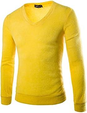 La maglieria in autunno e inverno uomini British Slim V collo camicia, giallo d'oca, L.
