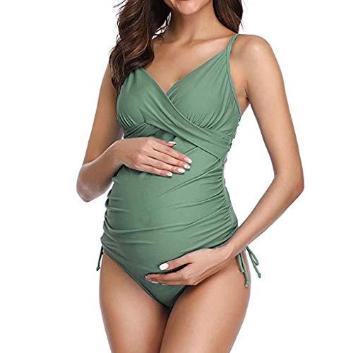 ALIKEEY Estate Primavera Confortevole maternità Spalato Donne di Colore Solido Bikini Costume da Bagno Vestito da Sposa in Stato di Gravidanza, Costume da Bagno Donna Incinta
