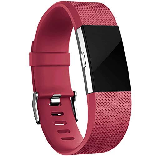 HUMENN Armband Kompatibel mit Fitbit Charge 2, Charge 2 Bänder Weich Sports Ersetzerband Fitness Verstellbares Uhrenarmband für Fitbit Charge2, Groß Weinrot (Inc Armband)
